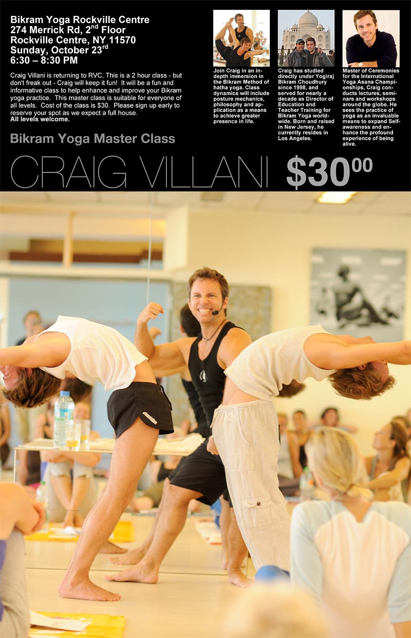 Master Class With Craig Villani At Bikram Yoga Rvc Long Island Hotyoga4you Rockville Centre Long Island New York The Original Hot Yoga